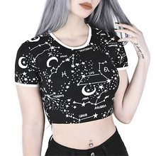 Women T Shirt Sexy Black Gothic Hipster Tees Moon Star Print Harajuku Crop Top Streetwear Tshirt Female Fashion Goth Summer Tops