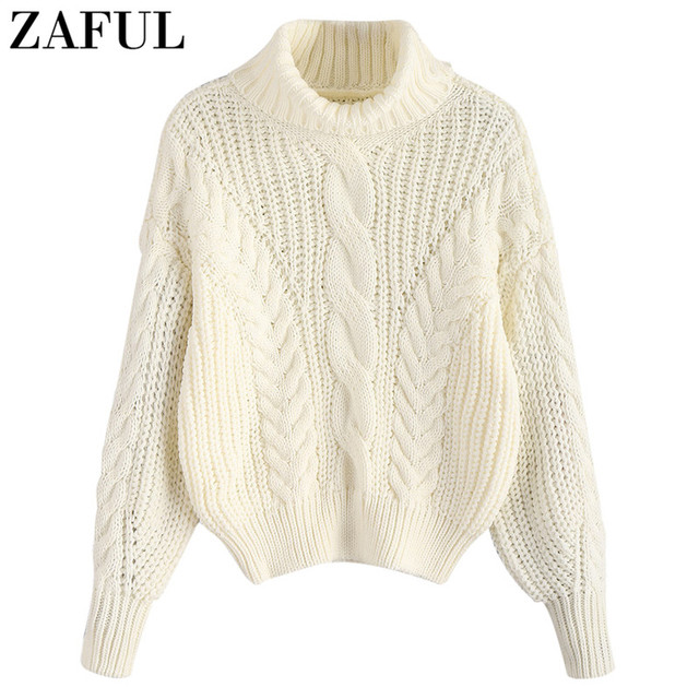 a1fa79ec329 ZAFUL Turtleneck Chunky Cable Knitted Sweater Winter Long Sleeve Women  Pullovers Female Sweater Casual Jumpers