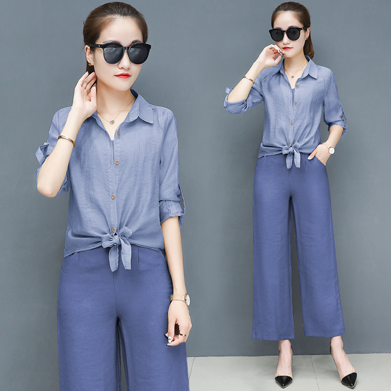 2019 Spring summer women sets office lady elegant chiffon blouse shirts+female wide leg pants trousers pantalon two piece sets 2