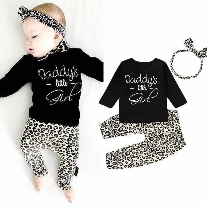 Ropa con estampado de leopardo para bebés, camisetas para recién nacidos, pantalones de primavera, conjuntos de 3 piezas, Ropa para Niñas, conjunto de algodón informal