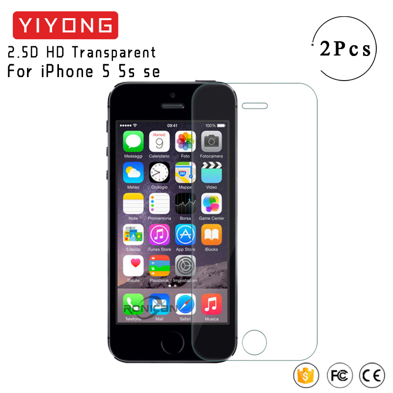 YIYONG 2.5D Glass For iphone 5s Tempered Glass Screen Protector For iphone se Screen Glass Protective Film For iphone 5 5s 5se