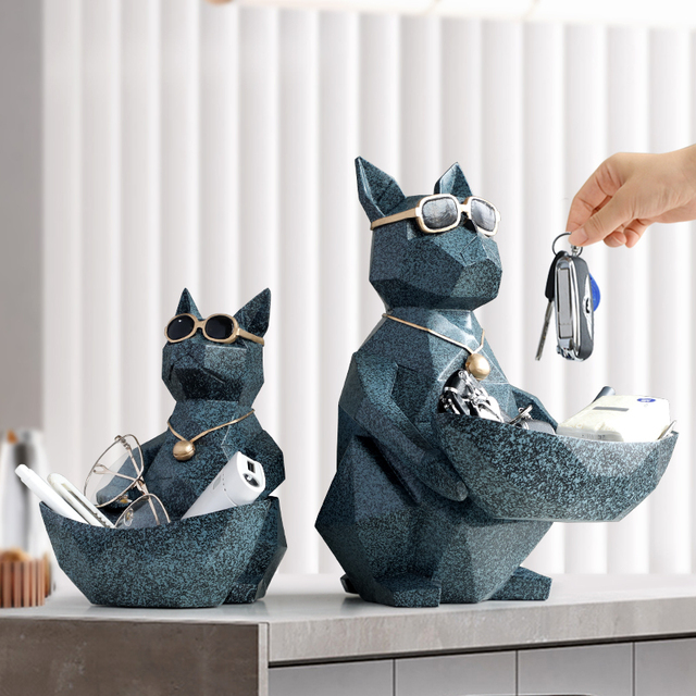 Cat Dog Figurines Resin Moden Crafts Animals Miniature cute ornaments for Home office decoration Storage bowl Carved Collectible 6