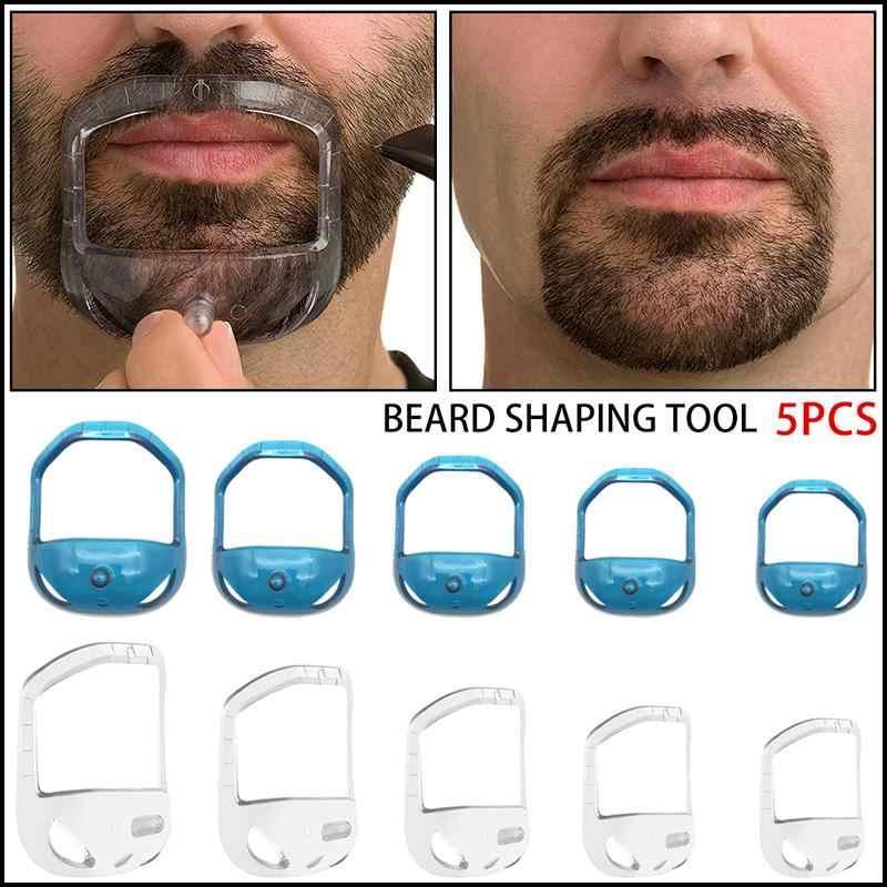 5 個スタイリッシュなヘアブラシ対称カットサロン口ひげあごひげケアシェービングモデルのために剃るビアードシェイプスタイルケアツールブラシ