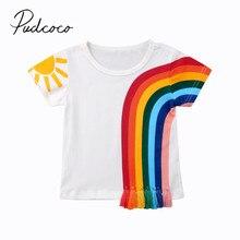 Детская летняя одежда Повседневная Радужная футболка для маленьких девочек хлопковая Футболка с кисточками в стиле пэчворк разноцветные Топы От 1 до 6 лет