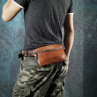 2018 Real Cow Genuine Leather Men Waist Packs Fanny Pack Belt Bag Phone Pouch Chest Bags Travel Small Crossbody for Gifts