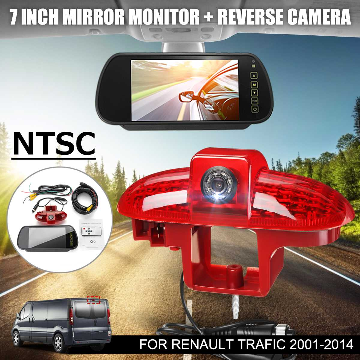 NTSC Car Brake Led Light Lamp Reverse Rear View Backup Parking Camera LCD Wide Screen Mirror Moniter For Renault Trafic 01-14