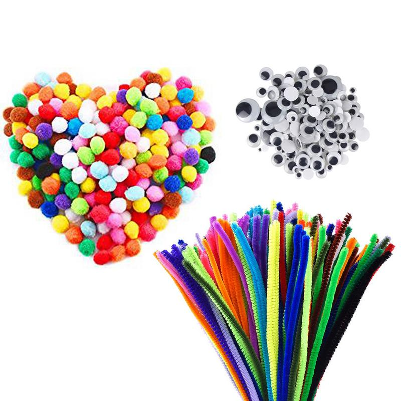 500 PCS DIY Educational Toy Pipe Craft Set Including 100 PCS Chenille Stems 250 PCS Balls Craft 150 PCS Wiggle Googly Eyes