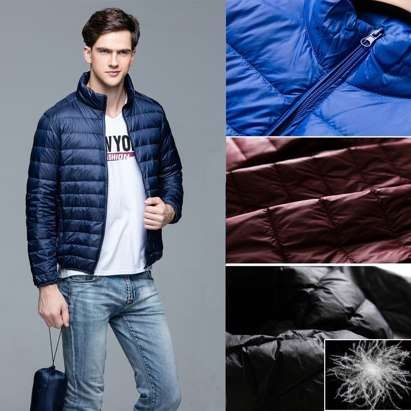 Autumn Winter Ultra Thin Lightweight   Down   Packable Jacket Men Stand Collar White Duck   Down     Coat   Plus Size Reversible Parka Male