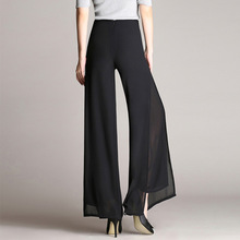 2019 Spring Summer Wide Leg Pants Women High Waist Chiffon Loose Casual Balck Long Trousers Plus Size S-4XL
