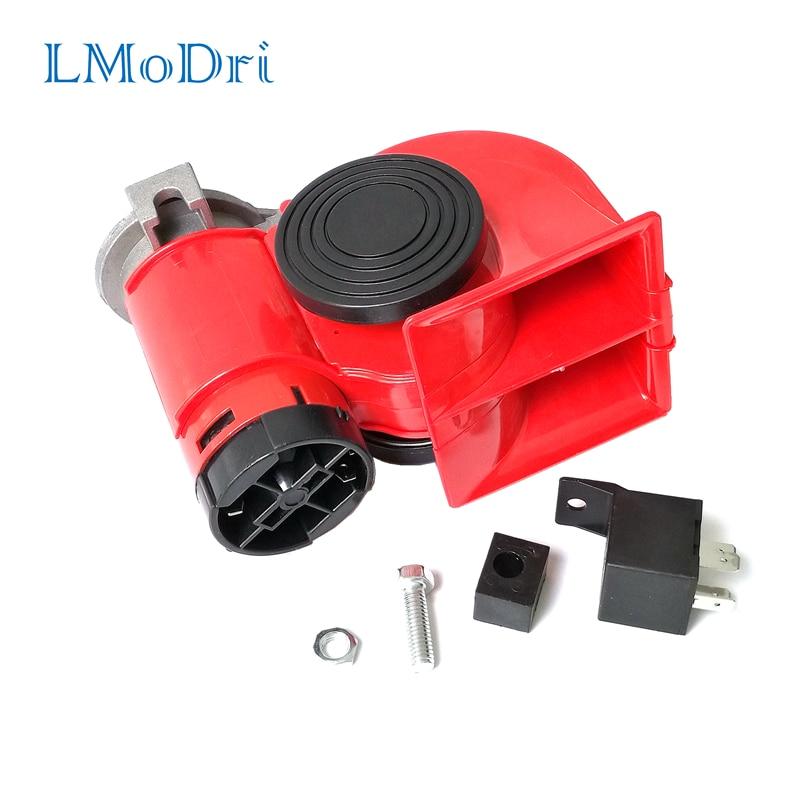LMoDri Electric Pump Vehicle Air Horn Loudy Car Motorcycle Truck 12V Red Compact Dual Tone Siren