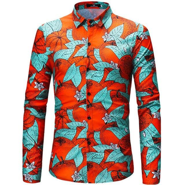 524107ad 2018 Retro Floral Printed Men Casual Shirts Classic Men Dress Shirt Men's  Long Sleeve Brand New