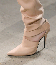 Newest 2019 Beige Leather Hollow Wedding Shoes Bride Pointed Toe Cut-out Stiletto Heels Pumps Women Plus Size Customized
