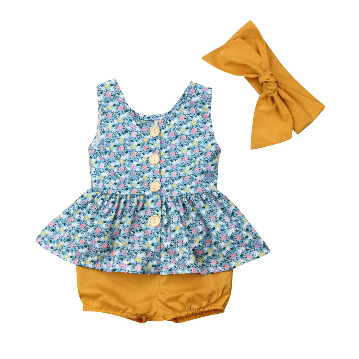 Adroit 2019 Newest Style Newborn Toddler Baby Kid Girl Top+headband+shorts Spring Summer 3pcs Adorable Outfit Clothes Set 0-24months