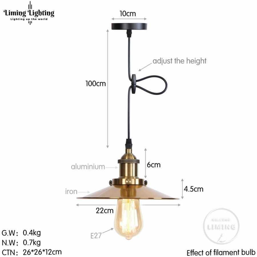 Золотой Лофт винтажный промышленный подвесной светильник, скандинавский Ретро Железный светильник s Edison лампа, светильник для кафе-бара, Домашний Светильник ing