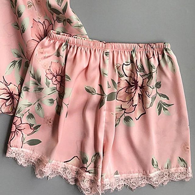 Women's Lace Floral Silk Pajamas