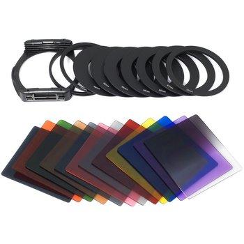 49 52 55 58 62 67 72 77 82mm 9pcs Metal Adapter Ring + ND2 ND4 ND8 16 Blue Orange Green Filter Set For Cokin P Series цена 2017