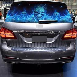 Auto Producten Waterdichte Auto Sticker Flaming Skull Achterruit Grafische Decals Voorruit Zonwering Stickers Voor De Auto Vrachtwagen