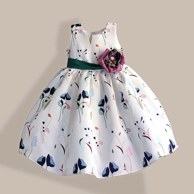Mode Girl Party Dress Super Flower Bow Kids Dress Tribute Silk Grön Floral Girls Klädklänning Fille Enfant 3-8T