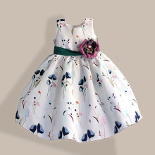 Fashion Girl Party Dress Super Flower Bow Kids Dress Tribute Silk Green Floral Girls Clothes robe fille enfant 3 8T