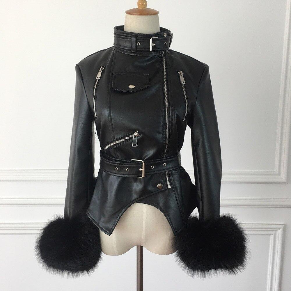 Renard Rosétique Chaud Manteaux Gothique Hiver Punk Épaissir Poignets Rue Pu De Moto Femmes Faux Fourrure En Cuir Vestes Ceinture Noir R0PnrRq
