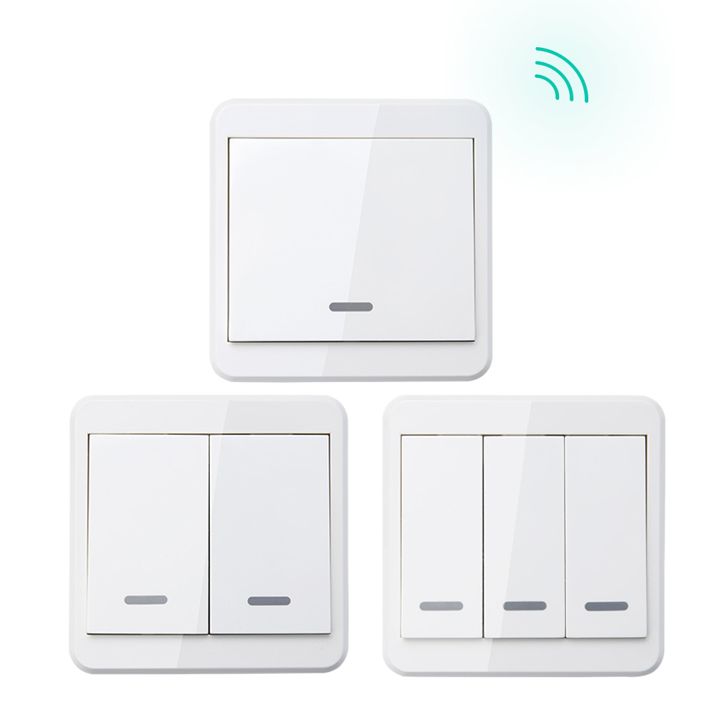433MHz Universal Wireless Remote Control Switch 86 Wall Panel RF Transmitter With 1 2 3 Gang For Smart Home Lighting Switch433MHz Universal Wireless Remote Control Switch 86 Wall Panel RF Transmitter With 1 2 3 Gang For Smart Home Lighting Switch