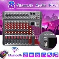 Professional 8 канальный Live DJ аудио микшер с bluetooth USB Jack звук микшерный пульт Phantom мощность для караоке ktv Music Show