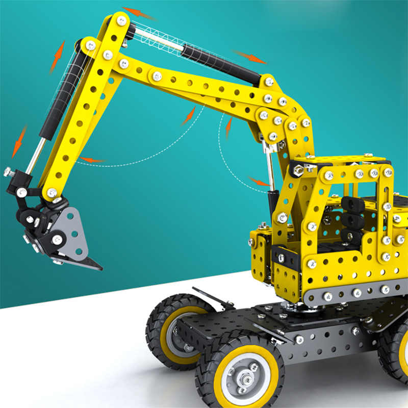502pcs Stainless Steel Excavator Model Puzzle Toy Metal Building Kits Assembled Engineering Car Educational Toys For Boys Gift