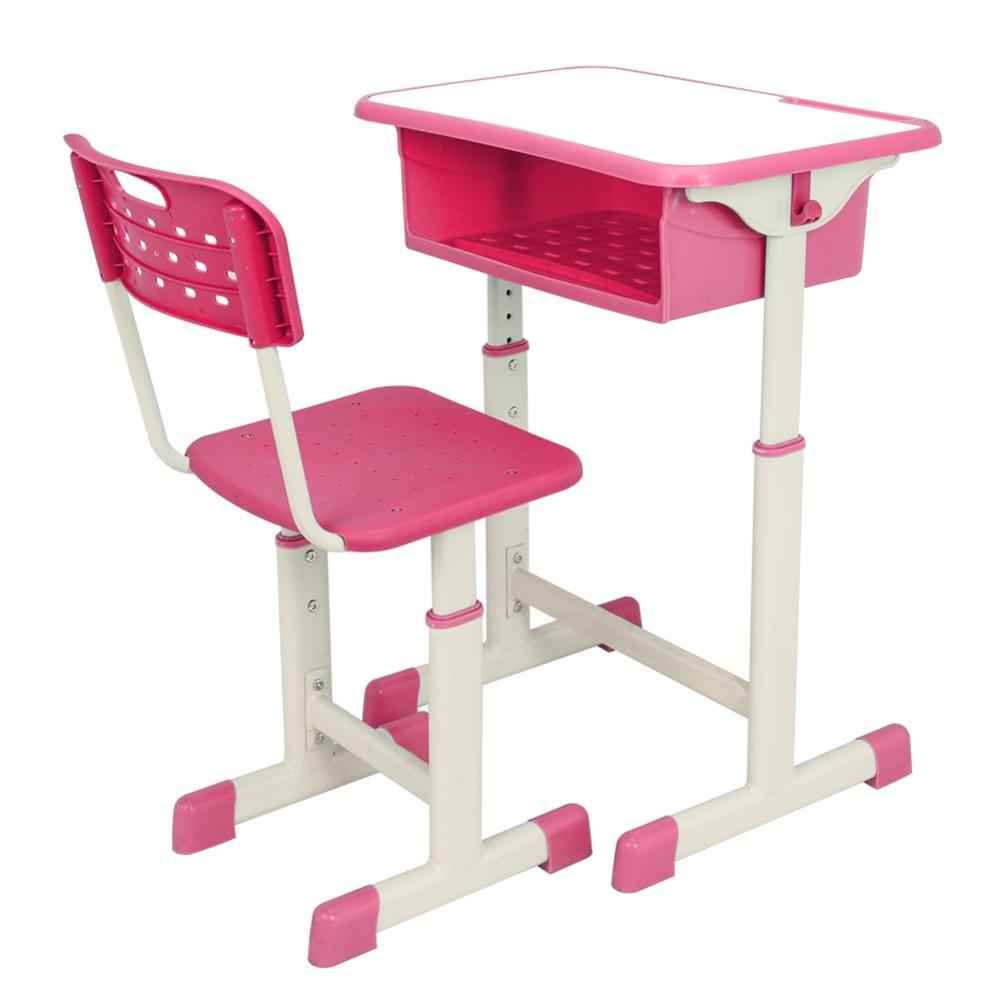 Adjustable Student Desk And Chair Kit Pink Desktop Size Is 60x40cm, Suitable For Writing, DrawingAdjustable Student Desk And Chair Kit Pink Desktop Size Is 60x40cm, Suitable For Writing, Drawing