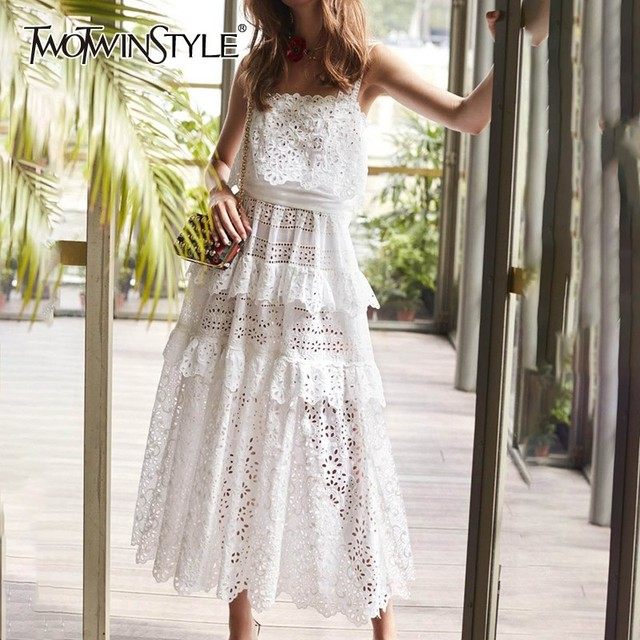 TWOTWINSTYLE Off Shoulder Women Dress Strap Lace Patchwork Hollow Out High Waist Midi Dresses Female Summer Fashion 2019 New
