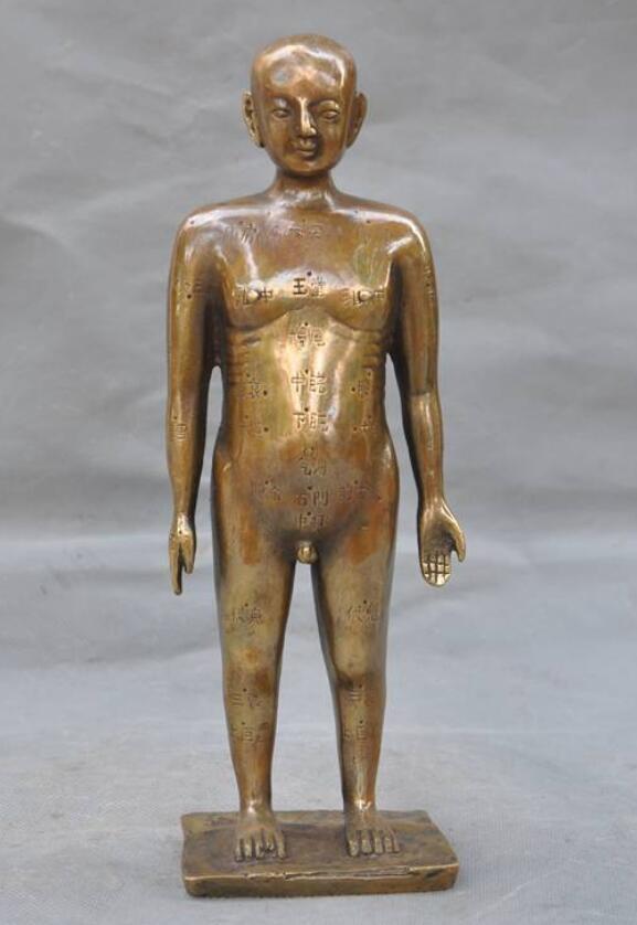 Ancienne Science médicale chinoise Bronze Points d'acupuncture personnes Point homme Statue