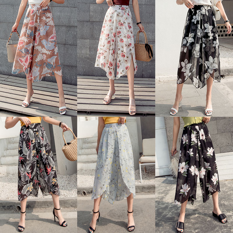 Women Chiffon   Wide     Leg     Pant   Skirt 2019 Spring Summer Female Loose Boho Beach Elastic Waist Casual Print Harem Trousers Plus size