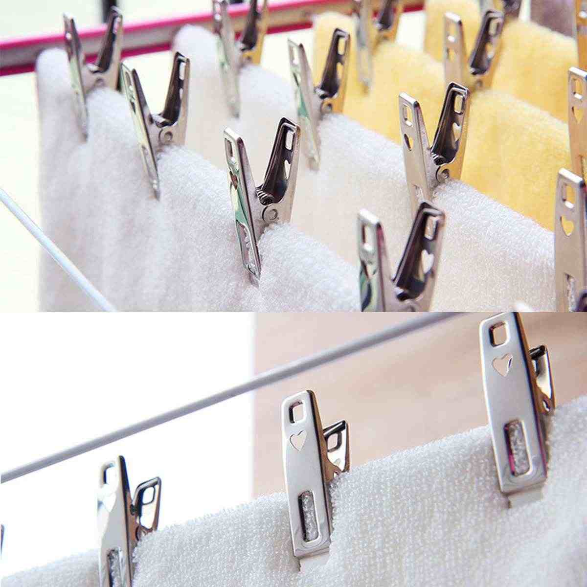 20pcs Stainless Steel Clothes Pegs File Metal Clips Coat Pants Hanger Rack Washing Food Sealing Clip Office School Supplies