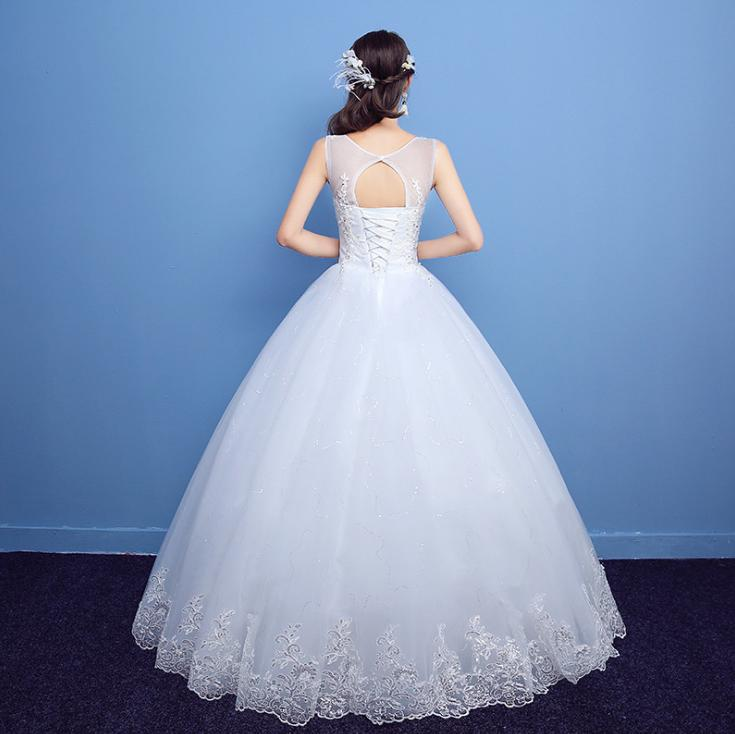 LASONCE Illusion Sequined O Neck Lace Appliques Ball Gown Wedding Dresses Elegant Tank Open Back Bridal Gowns