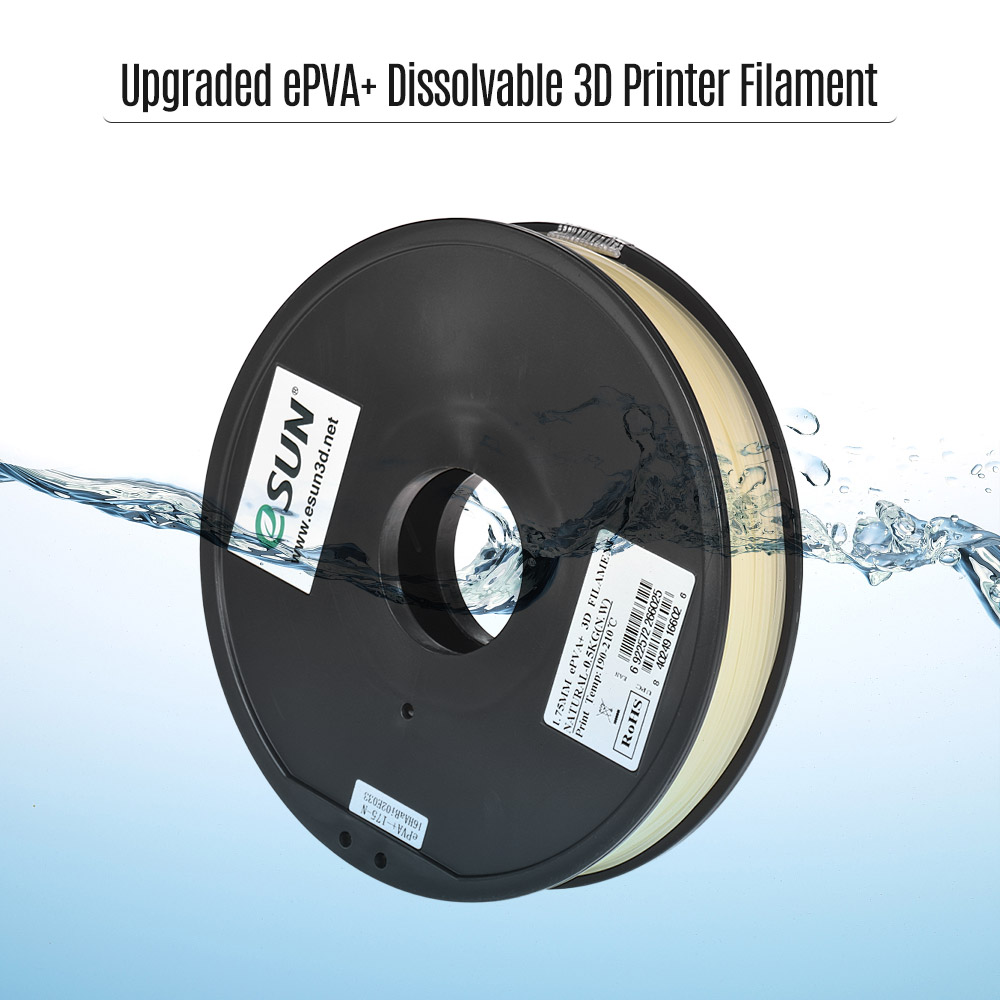 eSUN 1 75mm ePVA Upgraded 3D Printer Filament Natural 0 5KG Spool Water Soluble Dissolvable Consumables