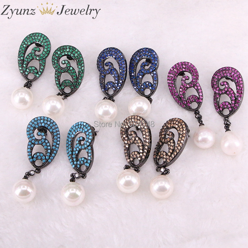 4 Pairs ZYZ332-4960 Fashion Mix color CZ Crystal Stones with round shell Pearl Earrings With Zirconia Flowers For Women Jewelry