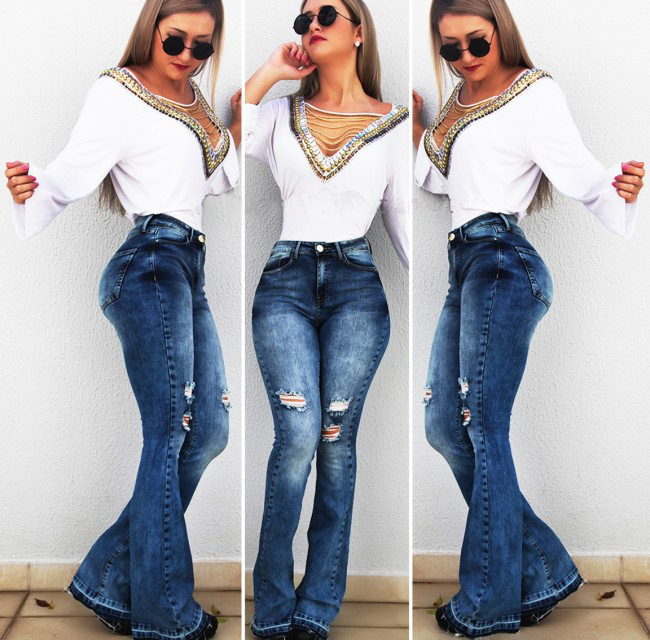 Women's High Waist Flare Jeans Ripped Hole Blue Bell Bottom Skinny Denim Pants Plus Size Mum Long Wide Leg Trousers New Fashion