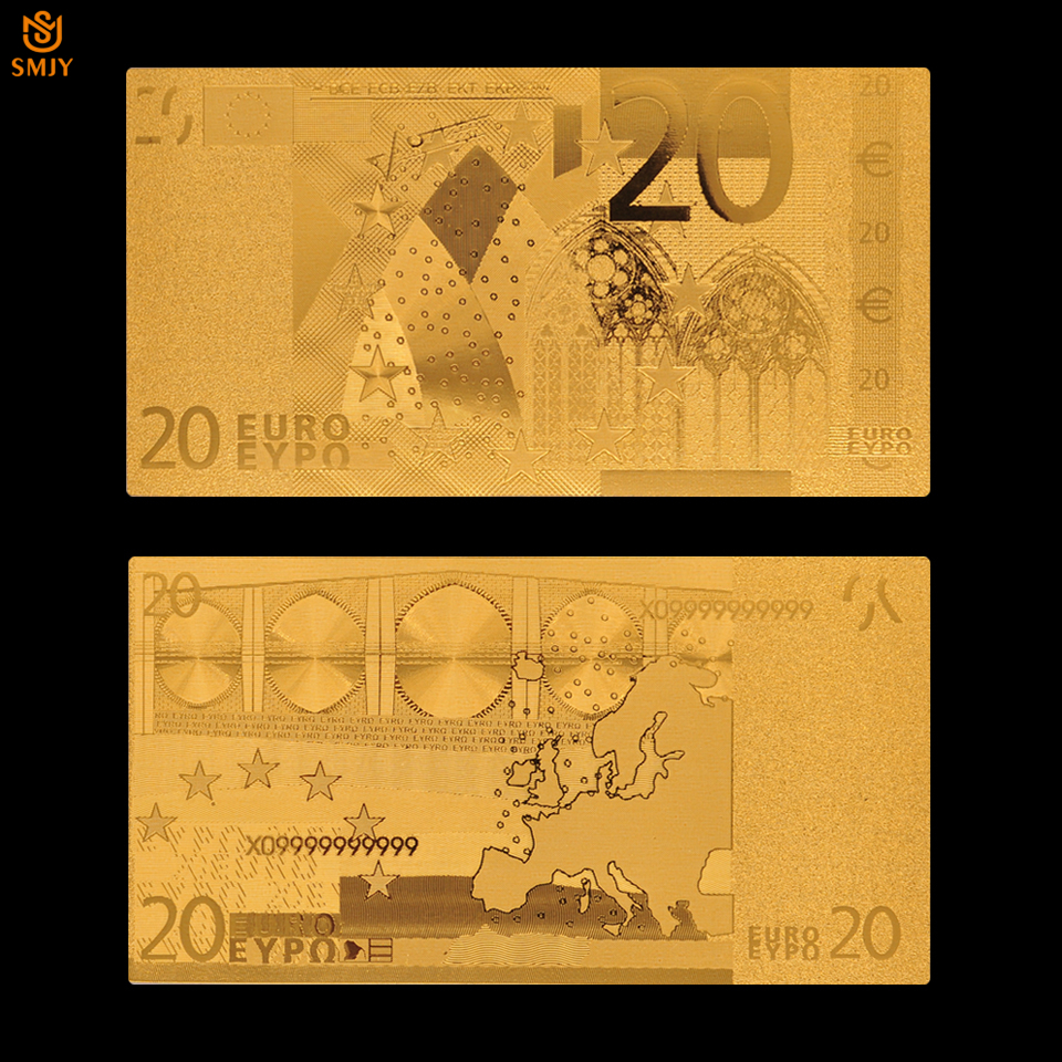 <font><b>Euro</b></font> Gold <font><b>Banknote</b></font> <font><b>20</b></font> <font><b>Euro</b></font> <font><b>Banknotes</b></font> Gold Plated Replica Real Money For Home Decoration image