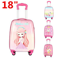 18inch Cute Cartoon Children Rolling Luggage Travel Suitcase Aluminium Trolley Bag School Outdoor Camping Rolling Luggage