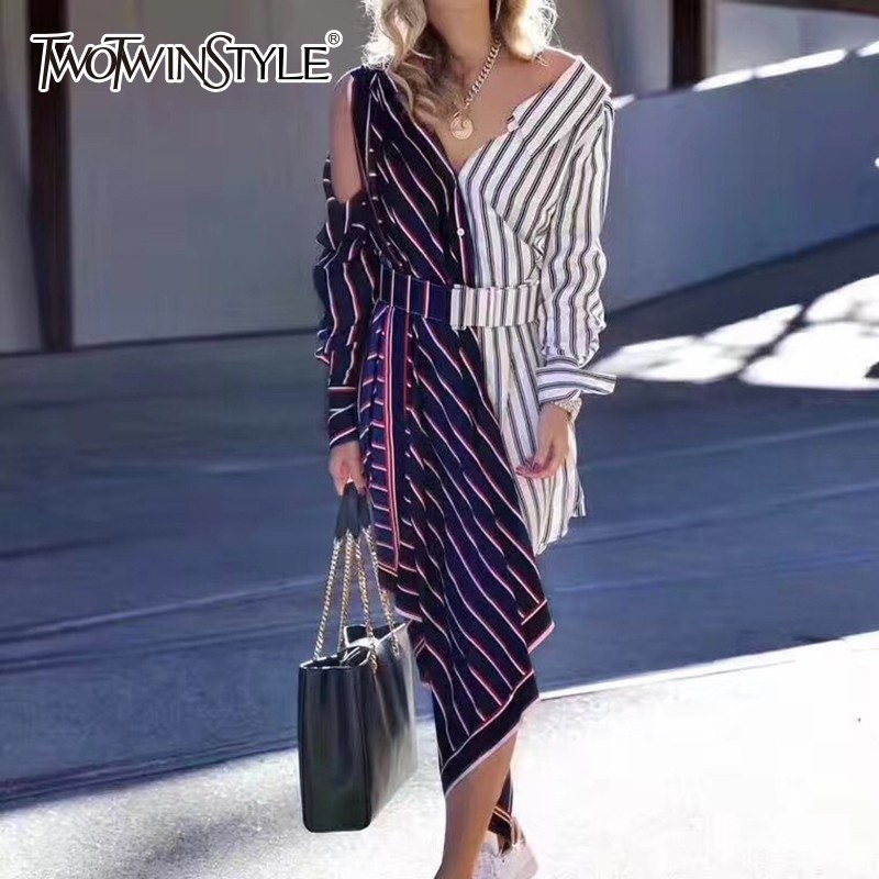 TWOTWINSTYLE Striped Patchwork Asymmetrical Shirt Dress For Women Off Shoulder Long Sleeve Hit Color Korean Dress