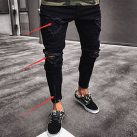 Fashion Black Hole Jean Men Ripped Skinny Jeans Destroyed Frayed Jeans Slim Fit Denim Pencil Pant Jean Zipper Size S-2XL