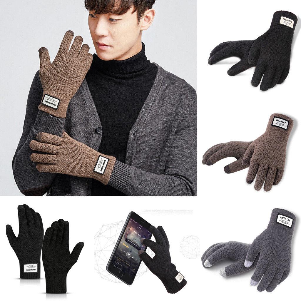 Men Women/'s Winter Thermal Fleece Lined Warm Full Finger Gloves Touch Screen