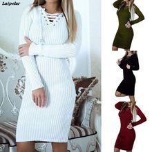 цена на Laipelar 2018 Autumn Women Dress Knit Dress Sexy V-neck Warm Casual Fashion Elegant Drawstring Office Lady Bodycon Party Dresses