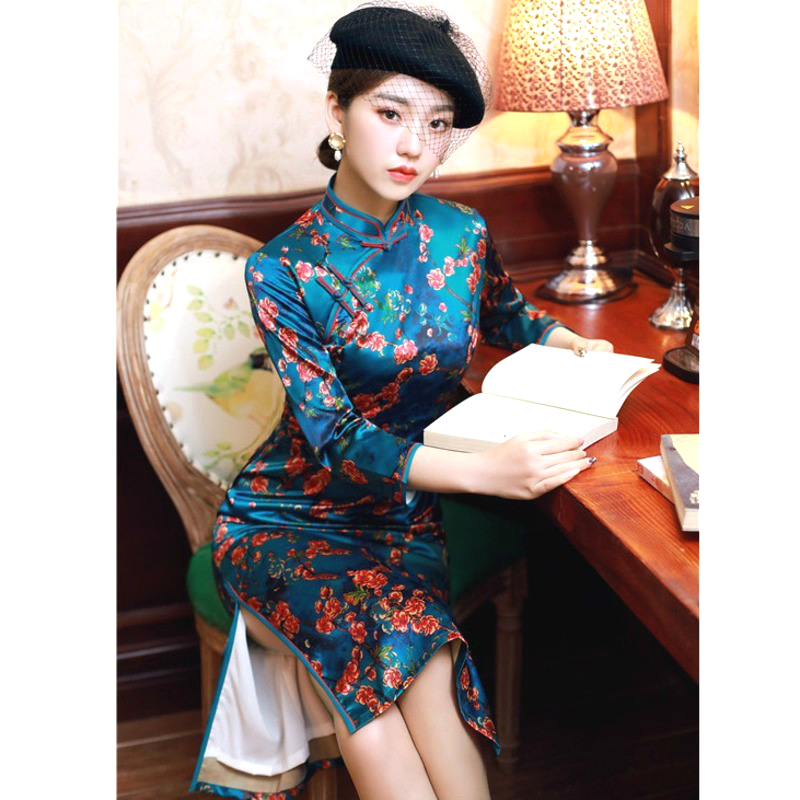 Plus Size Rayon Silk Cheongsam Long Dresses Evening Party Blue Printing Improvement Cheongsam Qipao Dress Orientale XXXL 4XL XXL
