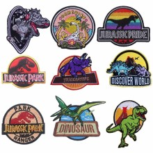Pulaqi High Quality Jurassic Park Patches Iron-on Embroidered Sewing Applique For Clothes Apparel DIY Dinosaur Badges Parches H
