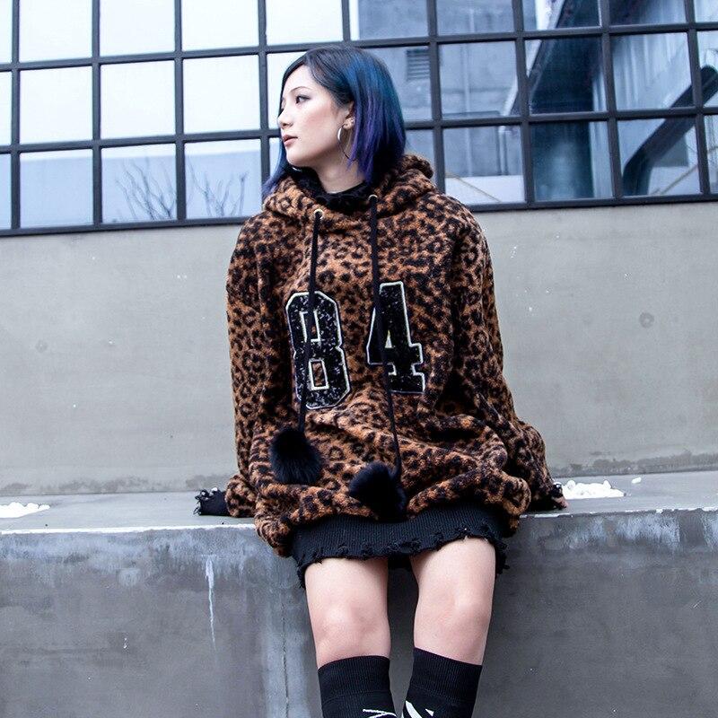5541 Herbst 1 Weibliche Rollkragenpullover Jacken lschte Damen Mit Streetwear Gef Hip Hop Farbe Harajuku Winter Leopard Kapuze Lange Kleid Zweiteilige Frauen 9Ib2eWEDHY