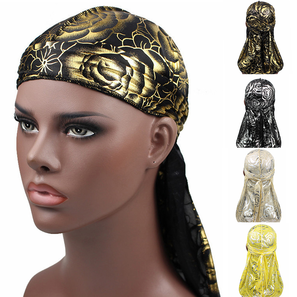 <font><b>Men's</b></font> <font><b>Silk</b></font> <font><b>Durags</b></font> Bandanas Turban Hat Wigs Doo <font><b>Men</b></font> Satin Durag Headwrap Rose Floral Print Long Tail Pirate Hat Hair Accessories image
