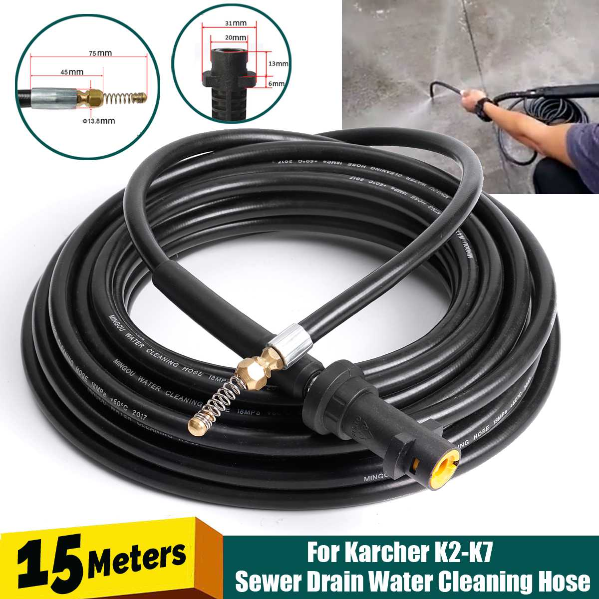 15M Pressure Washer Sewer Drain Cleaning Hose 1/4 Inch Quick Release Drain Sewer Cleaning Hose for K K2 K7 Spray Guns     - title=
