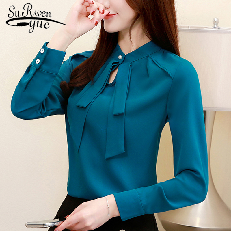 Fashion Womens Tops And Blouses Plus Size Chiffon Blouse Shirt Bow Collar Office Blouse Long Sleeve Women Shirts Blusas 2236 50