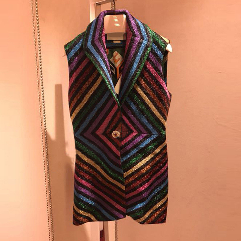 Luxury Bright silk Rainbow Striped Women Mini Dress Summer 2019 Runway Sleeveless Female Party Knitted Dresses Clothes