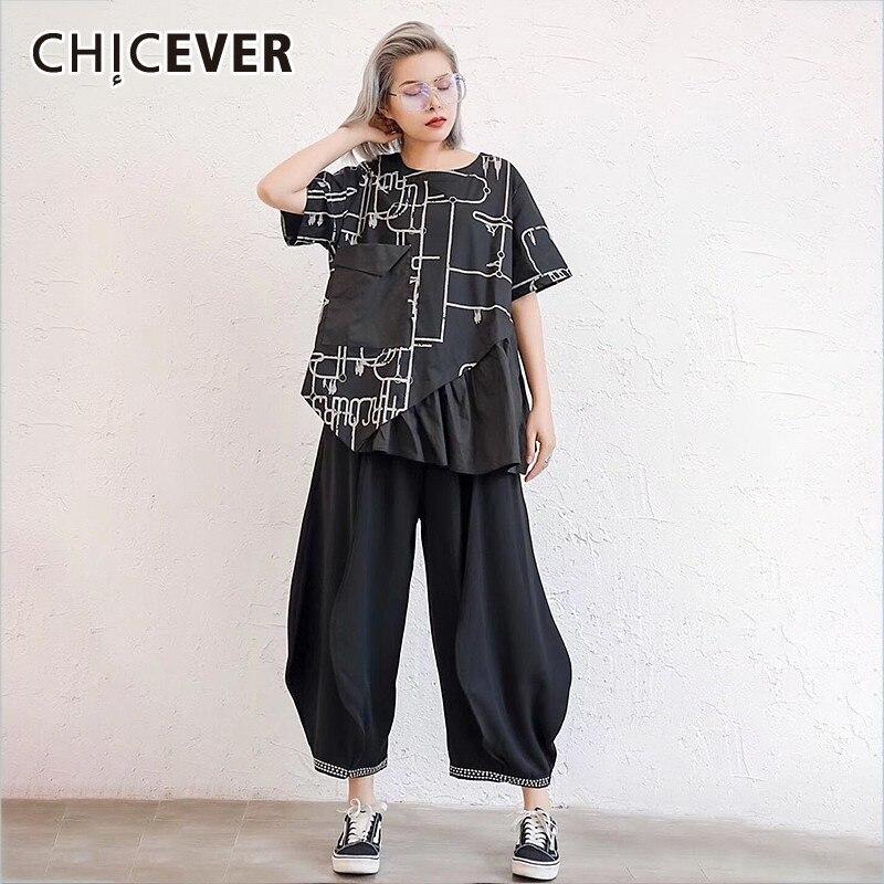 Комплект из двух предметов CHICEVRE, весенний топ с коротким рукавом и принтом с черными карманами, свободные штаны-шаровары оверсайз